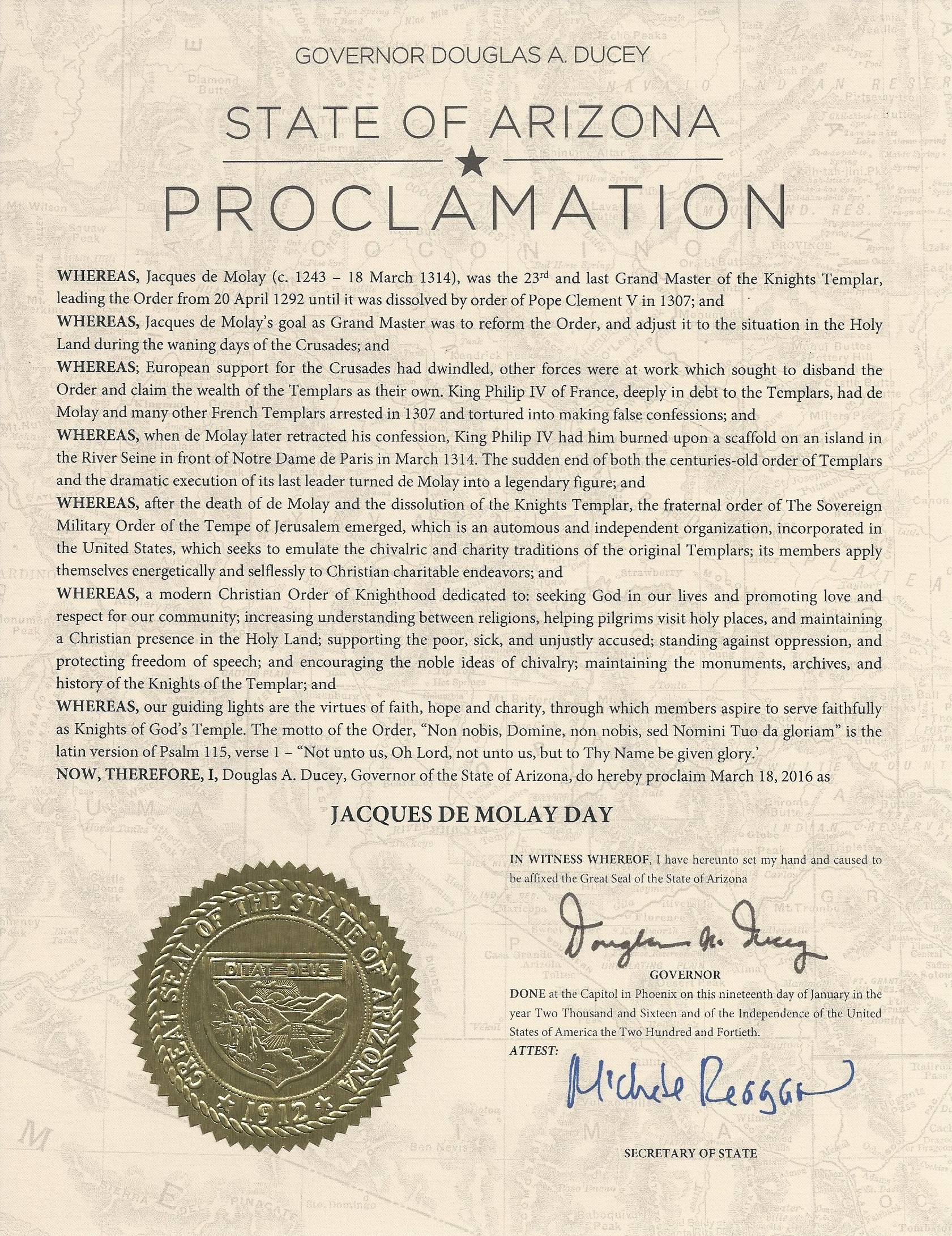 Arizona Proclamation of Jacques DeMolay Day 2016